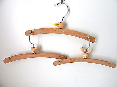 "3 Small CHILD/BABY WOOD HANGERS 10"" Duckling/Bear/Bunny Sturdy Metal hooks XLNT"