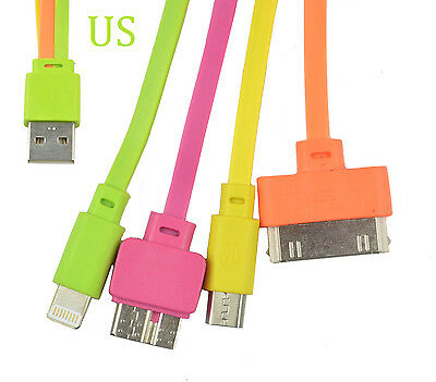 4 in 1 Multi Usb Charger Adapter Charging Cable Connectors: 30P, 8P, mini Micro