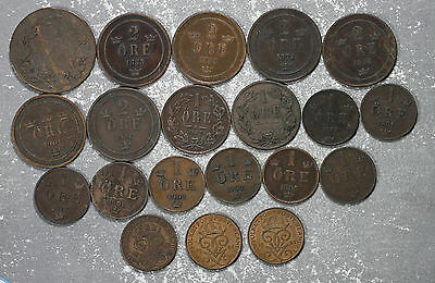 20 Sweden Early Copper 1 and 2 Ore Coins - 1858-1921