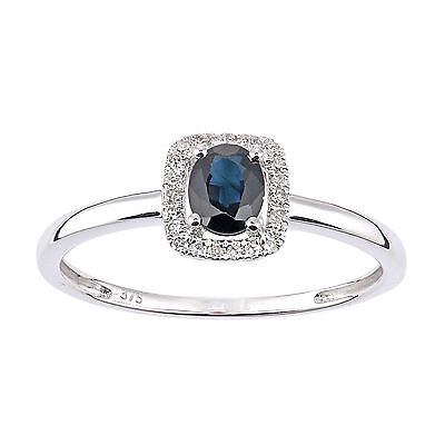 Revoni Real Blue Sapphire & Diamond Ring Solid 9ct White Gold