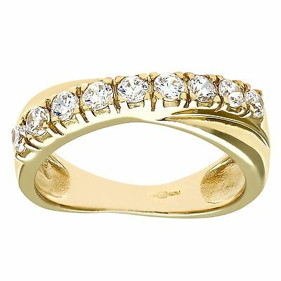 Revoni Real Clear Zirconia Eternity Ring for Women Solid 9ct Yellow Gold