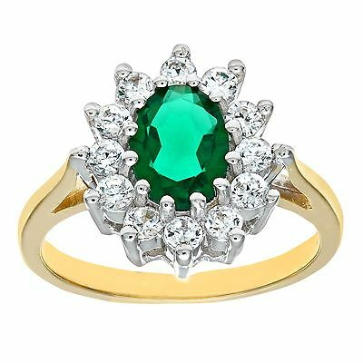 Revoni Green Emerald Cluster Ring for Women Solid 9ct Yellow Gold