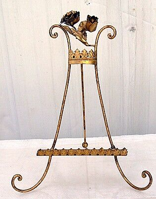 Italian Florentine Gold Metal Tole Picture Frame Easel With Tag Roses