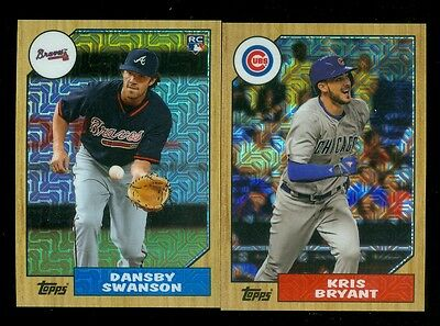 Kris Bryant Dansby Swanson RC Chrome Continuity 2017 Topps 1987 Refractor Lot 2