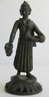 Fine Old India Bronze Woman with Pot & Offering Bowl Murti Figurine Sculpture