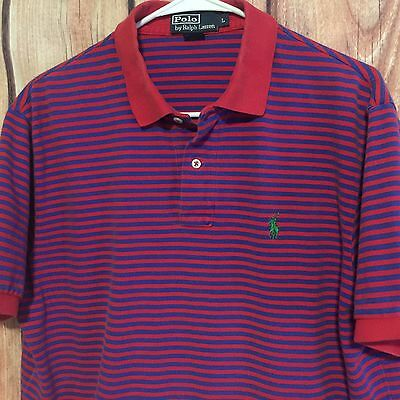 Mens blue red striped polo ralph lauren knit mesh cotton s for Polo ralph lauren striped knit dress shirt