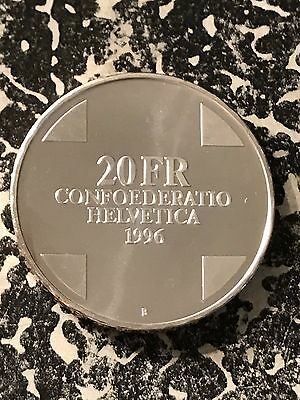 1996 Switzerland 20 Francs Lot#6071 Silver! Proof!