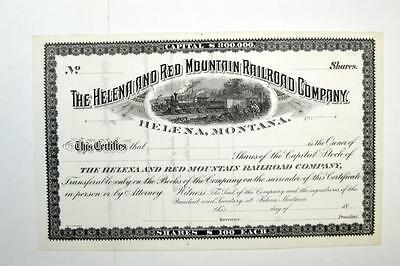Helena and Red Mountain Railroad Co., ca.1850-1900 Remainder Stock Certificate