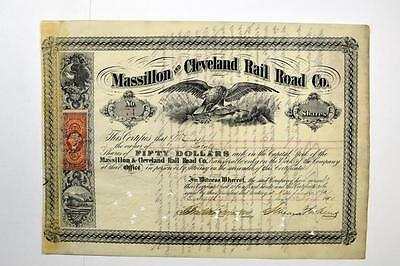 Massillon and Cleveland Rail Road Co., 1860 Issued Stock Certificate