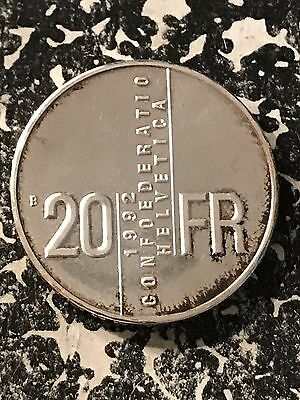 1992 Switzerland 20 Francs Lot#6073 Silver! Proof!