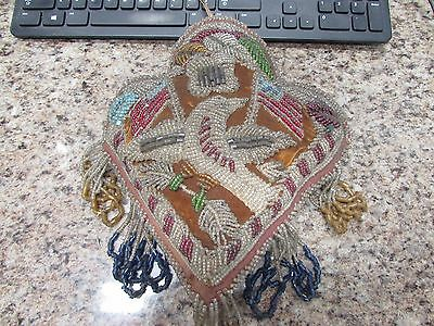 Early 1900's Native American beaded Patriotic themed pillow pin cushion