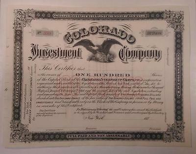 Colorado Investment Co., ca.1880-1900 Unissued Stock Certificate