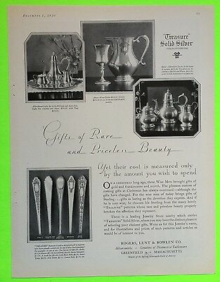 1929 Rogers Lunt Bowlen Mary II William & Mary Sterling Silver Advertisement
