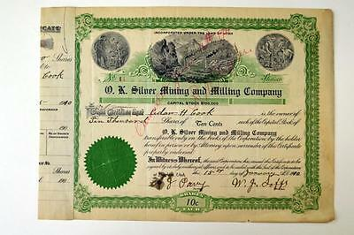 O.K. Silver Mining and Milling Co., 1900 Issued Stock Certificate