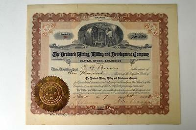 Brainard Mining Milling and Development Co., 1918 Issued Stock Certificate