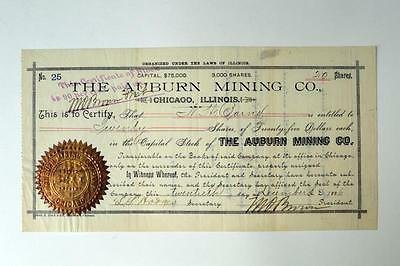 Auburn Mining Co., 1886 Issued Stock Certificate