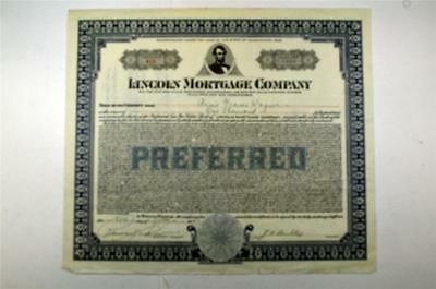 Lincoln Mortgage Co., 1927 Issued Stock Certificate