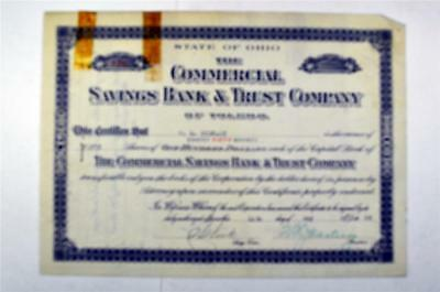 Commercial Savings Bank & Trust Co., 1928 Issued Stock Certificate