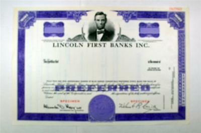 Lincoln First Banks Inc., ca.1960-1970 Specimen Stock Certificate