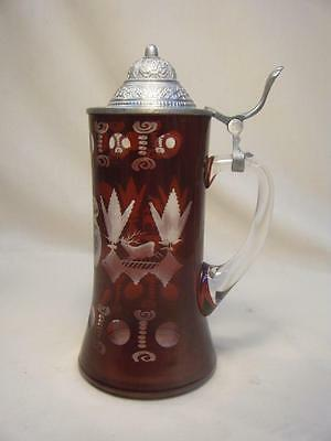 """Vintage Egermann Czech Ruby Red Cut to Clear Crystal Stein Pewter Lid 8 1/2"""""""