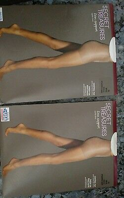 Lot Of 2 Secret Treasures Firm Support Control Top Pantyhose White 2X Plus Size