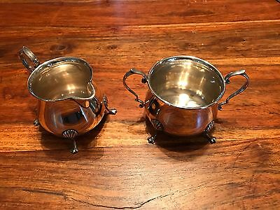 T2: Vintage Revere Silversmiths Solid Sterling Cream and Sugar Bowls 1051