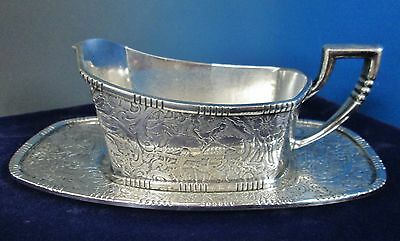 Antique Gravy Boat & Underplate Embossed HUNT SCENE Weidlich Bros Silverplate