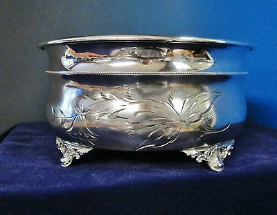 Early Antique Silverplate Fern Bowl or Jardiniere Brite Cut Engraved Florals