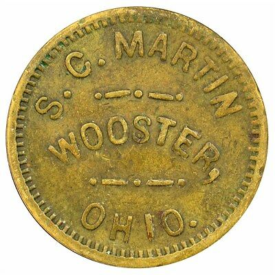 Antique S.C. Martin Wooster, OH Good for 5 Cents Trade Token