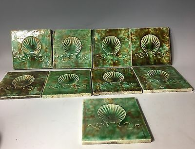 9 Antique Ceramic Tile Art Nouveau Fireplace Victorian Majolica Sea Shells Green