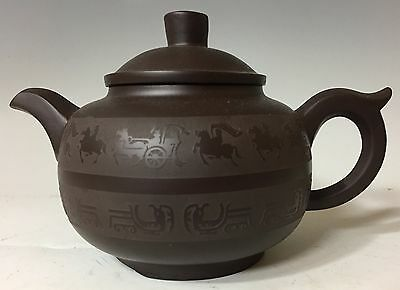 Double Signed CHINESE YIXING CLAY TEAPOT calligraphy Horses
