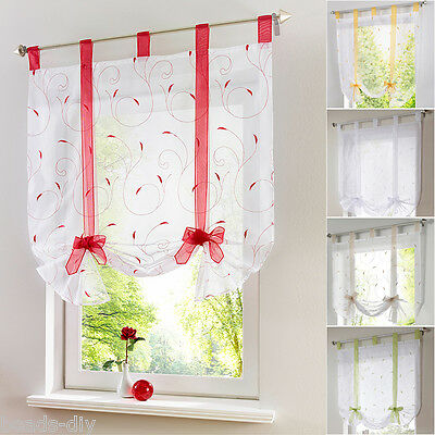 Tab Top Sheer Kitchen Balcony Window Curtain Voile Liftable Roman Blinds BM