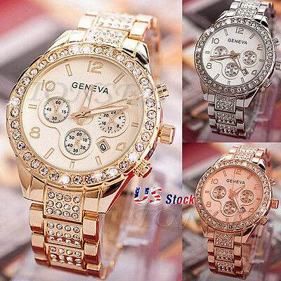 Women Luxury Crystal Gold Stainless Steel Band Date Analog Quartz Wrist Watch US