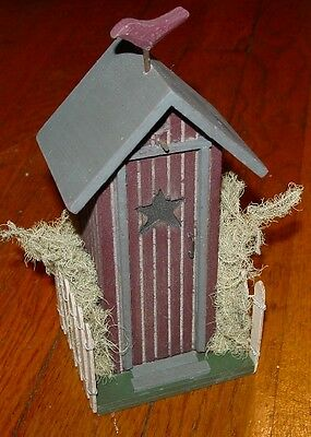 Burgandy Maroon Country OUTHOUSE BIRD STAR Wood Figure Bathroom Home Decor NEW