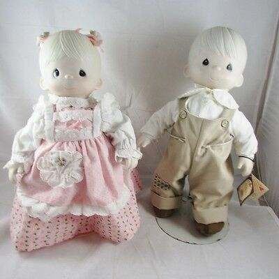 1981 Debbie Mikey Precious Moments Dolls 17 Inch Porecelain Cloth Enesco VTG