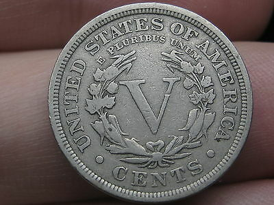 1899 Liberty Head V Nickel- Fine/VF Details, Full Rims