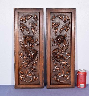 Pair of Antique French Carved Panels in Walnut Wood with Griffins