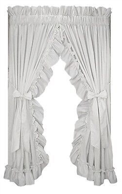 "Stephanie Country Primitive Farmhouse Ruffled Curtains White 84"" Shabby Chic"
