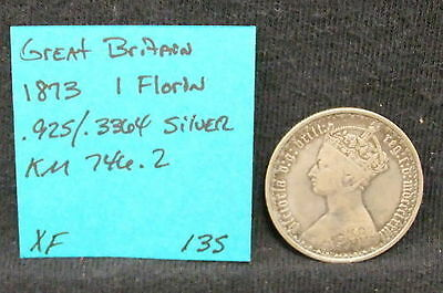 1873 Great Britain 1 Florin KM 746.2 Silver Coin XF EF .925/.3364 ASW Victoria