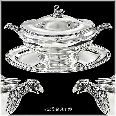 Antique French Sterling Silver Empire Tureen & Stand, Imperial Eagles, Swan
