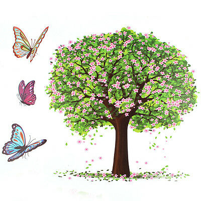 Happy Tree Butterfly Removable Vinyl Wall Sticker Decal Art Home Decor Mural