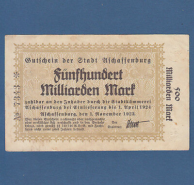 ASCHAFFENBURG 500 Milliarden Mark 1923 Erh. III / VF