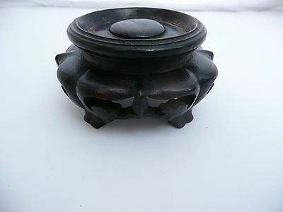 """Rare Antique Chinese Carved Wooden Vase Bowl Jade Stand Base Display 1.75"""" Dia"""