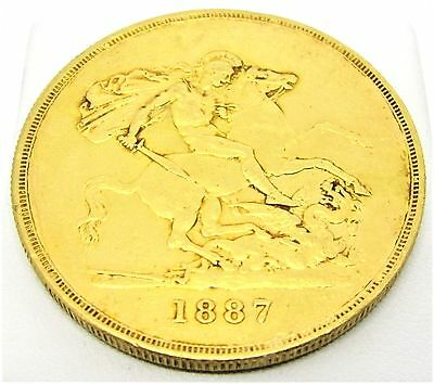 22ct 1887 Queen Victoria Jubilee Head £5 Five Pound Sovereign Gold Coin Bullion
