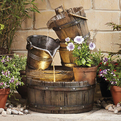 Serenity Barrel Bucket Cascading Water Feature Garden Fountain Planter Ornament