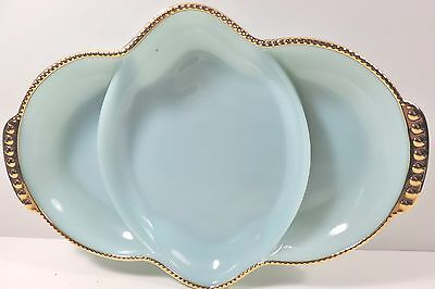 Vtg 1950's Fire King Turquoise w/ Gold 3 Part Relish
