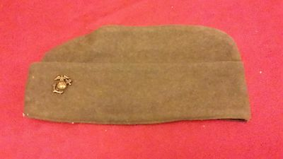 Wwii Usmc Wool Overseas Cap With  Usmc Brass Enlisted Ega Insignia Pin