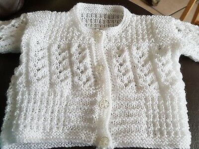 New Hand Knitted Baby Cardigan Knit In White 4Ply Yarn Size O-3 Months