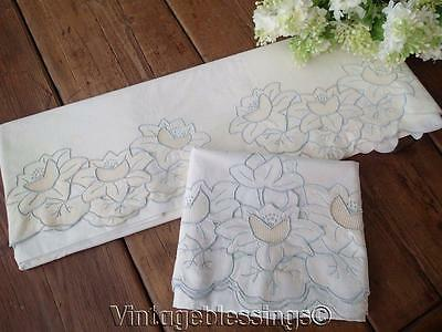Beautiful Vintage Hand Embroidered Fancy Sheet & Pillow Case (ng)