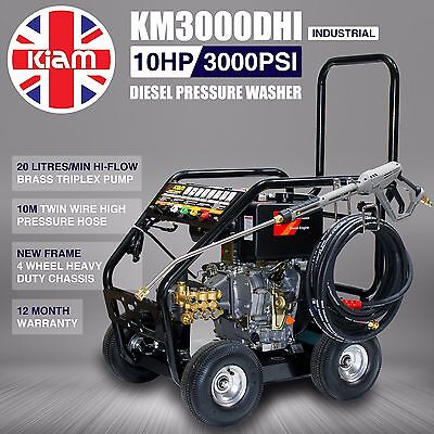 Kiam Diesel Pressure Washer KM3000DHI Hiflow Pump Industrial Jet Power Cleaner